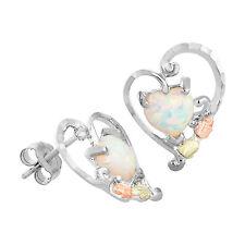 Black Hills Gold opal heart earrings womens sterling silver lab created