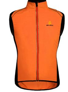 NWT WOSAWE Cycling Vest Reflective  Windproof Orange Zippered Sleeveless SIZE L
