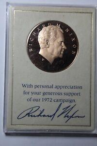 Richard Nixon Generous Support Campaign Medal Franklin Mint Bronze~1972~Fr/Ship