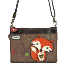 Chala Brown Phone Purse Adjustable Strap with Orange Fox Charterers