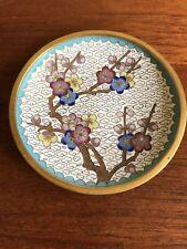Vintage Chinese Cloisonne Circular Trinket Pin Dish Tray