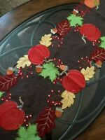 """Thanksgiving Fall Decor Table Runner Pumpkins Fall Leaves 67""""x 13"""" Embroidered"""