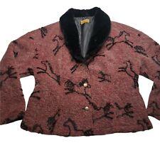 Tsunami Vintage Equestrian Horse Print Dress Up Button Up Size XL Mohair Alpaca