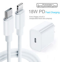 PD 18W/2A Type-C Fast Charger AC Adapter Cable For iPhone 12 11 XS Pro Max iPad