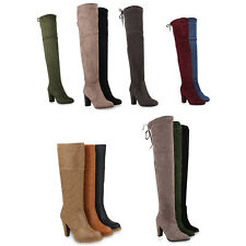 Damen Stiefel Overknee High Heels Overknees 813223 Schuhe
