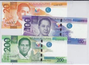 Lot Piso Philippinen 20,100 u. 200 Piso 2010 UNC