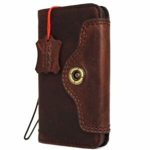 Genuine Vintage Leather Case for Apple iPhone 8 Book Wallet Cover Brown Slim 7