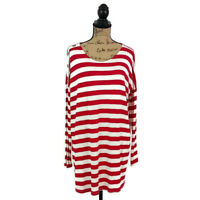 Mon Ami Womens sz M Red White Stripe Knit Top Long Sleeve Casual
