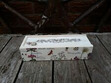 Shabby chic pencil case, wood, moulded clay rose, handmade, floral botanical