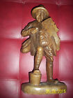 old vintage wood carving sculpture man and music rare one of a kind