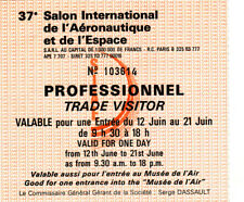 Z18 Billet entrée professionnel 37e Salon International de l'aeronautique Espace