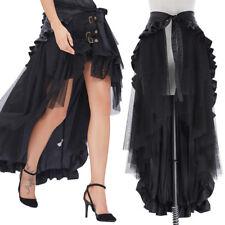 CHEAP! Women Steampunk Victorian Ruffle Gothic Punk Bustle Lace Maxi Skirt DRESS