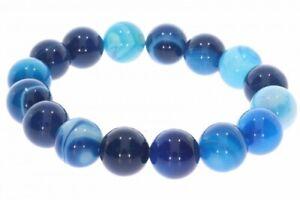 Achat blau 12mm Kugel Schmuck Stretch Edelstein Armband - individuelle Größe 12