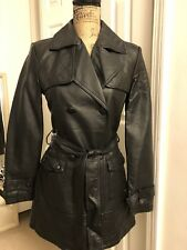 new womens black faux leather button down jacket MOXMEMBERS ONLY szS