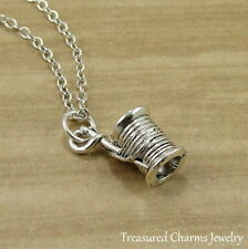 Silver Spool of Thread Charm Necklace - Sewing Seamstress Pendant Jewelry NEW