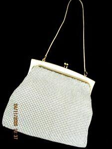 ~VINTAGE ORIGINAL GLOMESH WHITE MESH HAND BAG - GC+~