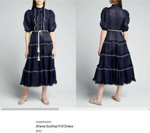 ZIMMERMANN Aliane Scallop Frill Dress $950 size 2 (US 6-8)