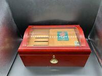 Lockable Glass Top Cigar Humidor Humidifier Box w Hygrometer & Cedar Tray 50-100