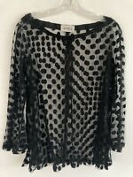 APARA Black Polka Dot Lace Long Sleeve Top Size Large
