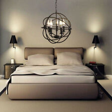 Metal Orb Chandelier Globe Light Sphere Hanging Fixture Ceiling Dining Round E12