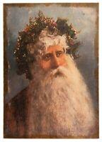 SANTA BURLAP CANVAS Picture Print Primitive Father Christmas Farmhouse Country