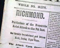 BATTLE OF DARBYTOWN ROAD Richmond VA & Abraham Lincoln 1864 Civil War Newspaper
