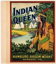 BROOM LABEL VINTAGE 1930S ORIGINAL SCARCE NATIVE AMERICAN INDIAN QUEEN TEEPEES