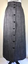 Jaeger Gray Check Wool Blend A-Line Button Front Midi Skirt Size 14 UK 12 US