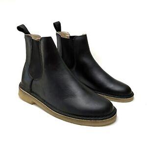 Clarks Mens Desert Peak Black Leather Crepe Sole Chelsea Ankle Boots 8.5 NEW