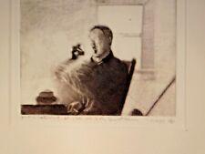 Vintage Modern Norway Artist Signed Leong Va Original Mezzotint Print INK