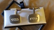 VINTAGE SILVER TONE SQUARE CUFF LINKS NICE