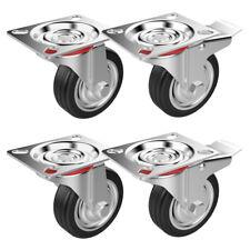 4 Heavy Duty 200kg 75mm Rubber Swivel Castor Wheels Trolley Furniture Casters