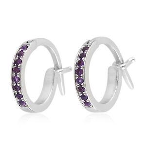 Natural Gemstone Diamond Huggie Earrings 18k White Gold Hoop Women's Jewelry