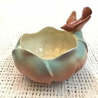 Vintage Bird Bath Planter Round Scalloped Rim Pink Blue Vintage Royal Copley 6in