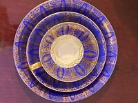 Antique Limoges, Schaller 3pc lunch set. Raised gold hand painted. Orig.Bavarian