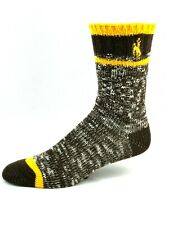 Wyoming Cowboys For Bare Feet Brown and Gold Alpine Crew Socks