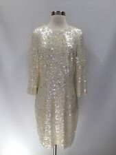 New J.Crew Star Sequin Shift Dress Ivory Size 6 Wedding Special Occasion Party