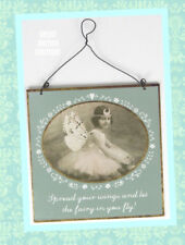 """Fairy Shabby Chic Small Metal Sign-""""Spread Your Wings& Let The Fairy In You Fly"""""""