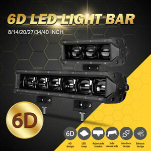 "8/14/20/27/34/40"" LED Work Light Bar Offroad Single Row Flood ATV 4WD Truck Boat"