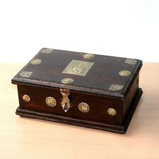 1930's Old Antique Beautiful Handmade New Brass Design Fitted Wooden Cash Box