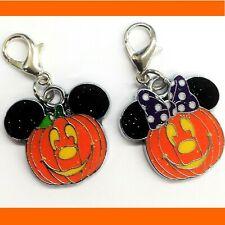 2PCS Disney Mickey Mouse Minnie Pumpkin charm zipper pull purse keychain clip on