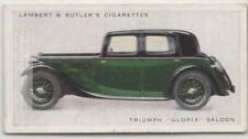 Triumph Gloria Saloon Classic British Auto Car 1934 Trade Ad Card
