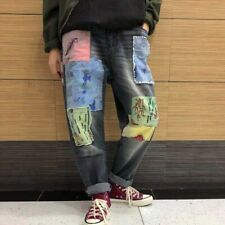 Spring Womens Washed Denim Ripped Pants Baggy Loose Fit Jeans Casual Trousers