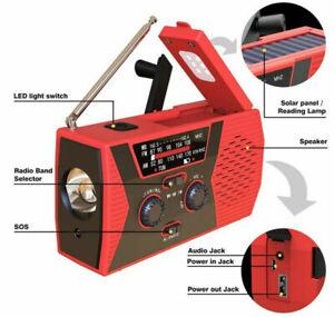 Emergency Solar Hand Crank Radio 2000mAh NOAA/AM/FM Portable Outdoor Survival US