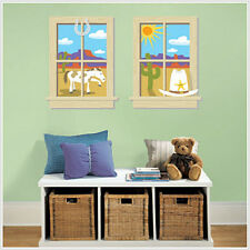 """WINDOWS old wild west wall stickers 2 BIG decals room decor 25"""" by 32"""" horse"""