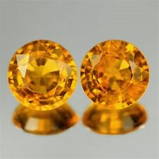 IF ~ 1.17 CT ~ PAIR (2 peices) Orange Sapphire ~ ROUND ~ Natural Gemstone