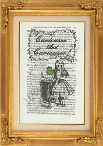 "ORIGINAL-Alice and the Frog Prince Print on ""Alice in Wonderland"" Book Page"