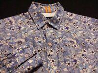 Robert Graham Mens XS Extra Small Long Sleeve Button-Down Blue Floral Shirt