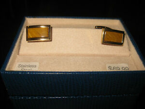 Speidel Cuff links gold plated Stainless steel w/Tiger eye, NOS, in box