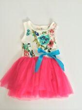 Girls Flower Dark Pink Tulle Dress Size 24 months 2 years New